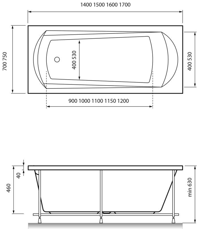 Акриловая ванна Relisan Tamiza 170х75