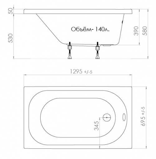 Акриловая ванна Triton Стандарт 130